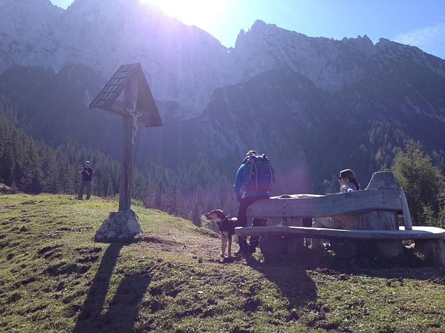 Photo of mountain hikers resting