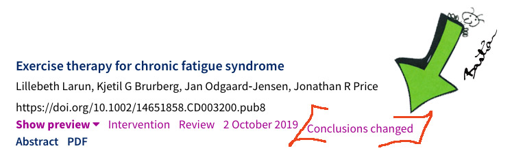 """Snapshot of Cochrane review listed as """"conclusions changed"""""""