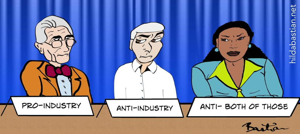 Cartoon of a panel of 3 speakers - pro-industry, anti-industry, anti both of those