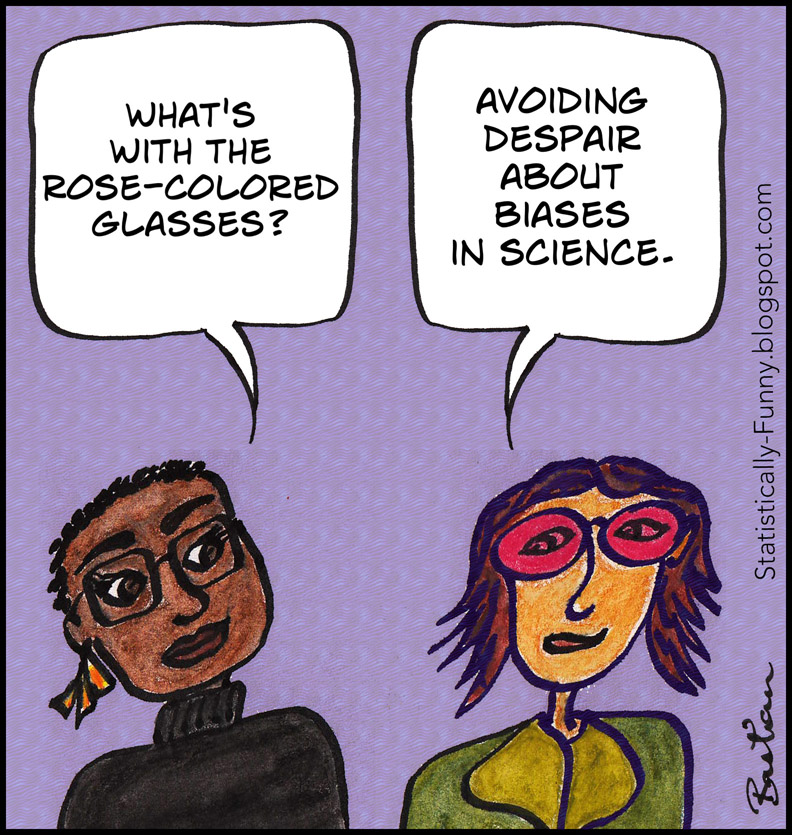 Cartoon of women avoiding despair about biases in science