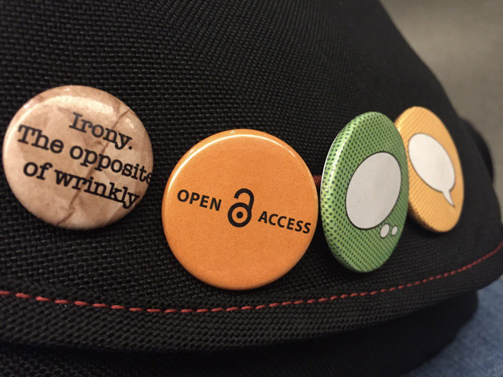 Photo of badges on a bag