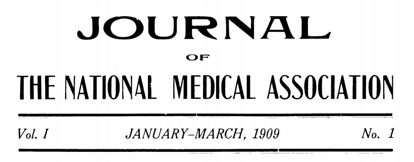 Banner of the first issue of the Journal of the National Medical Association