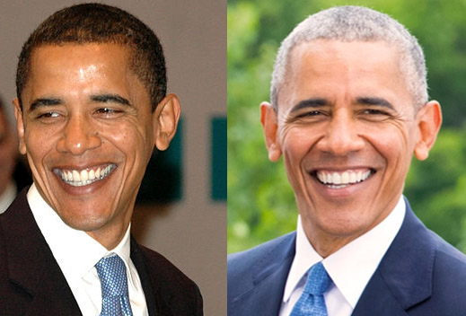 Photos of Senator Barack Obama in 2007 and President Barack Obama in 2016