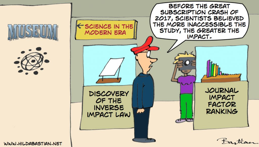 Cartoon of the discovery of the inverse impact law exhibit in the pre-modern hall of the science history museum