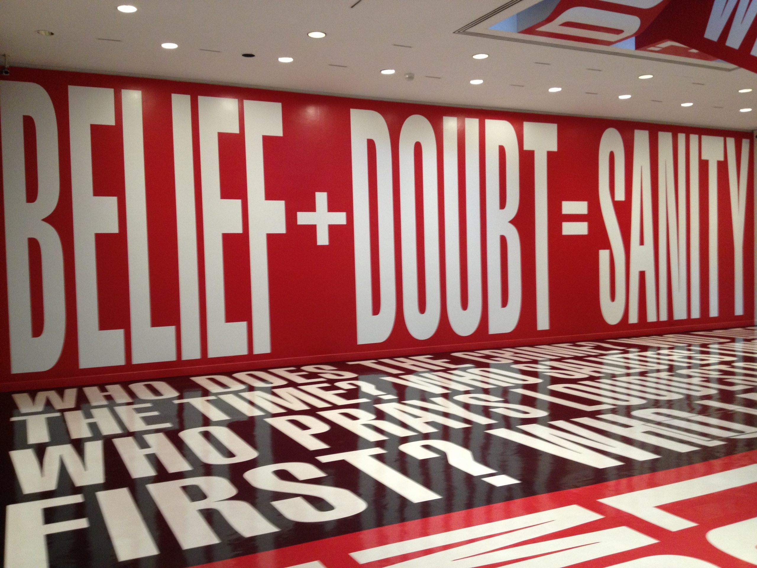 Who does the crime? Whose power? Whose values? Belief + Doubt: Installation by Barbara Kruger (Photo: Hilda Bastian)