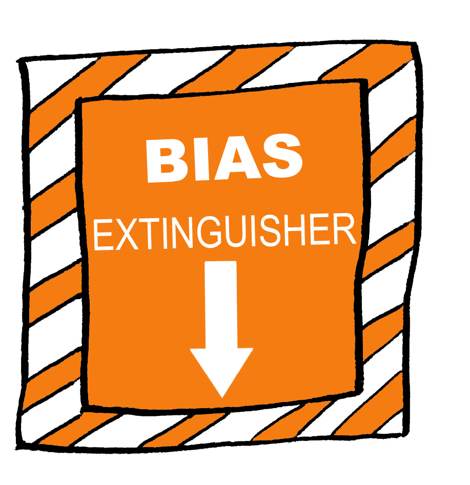 Sign pointing to Bias Extinguisher