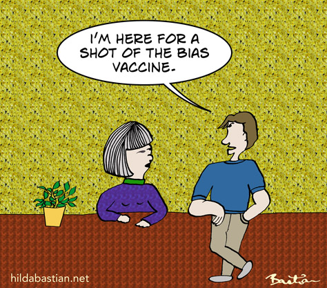 Cartoon of someone asking for a bias vaccine