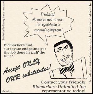 Cartoon ad for clinical trial biomarkers