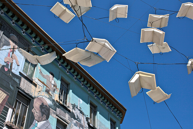 Photo of outdoor sculpture of books