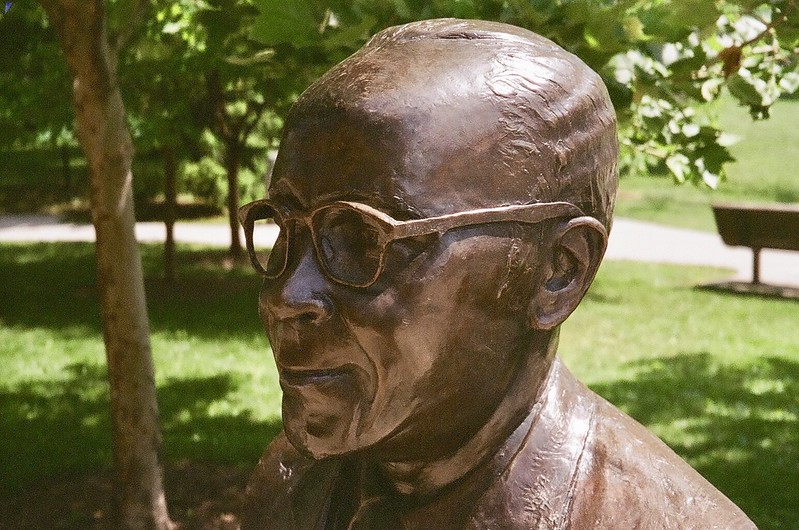 Photo of bust of Percy Julian in a park in Oak Park