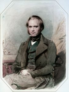 Water color portrait of Charles Darwin