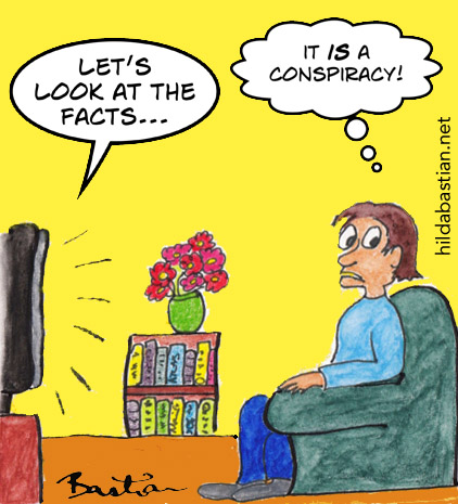 Cartoon of someone watching TV and fearing a conspiracy