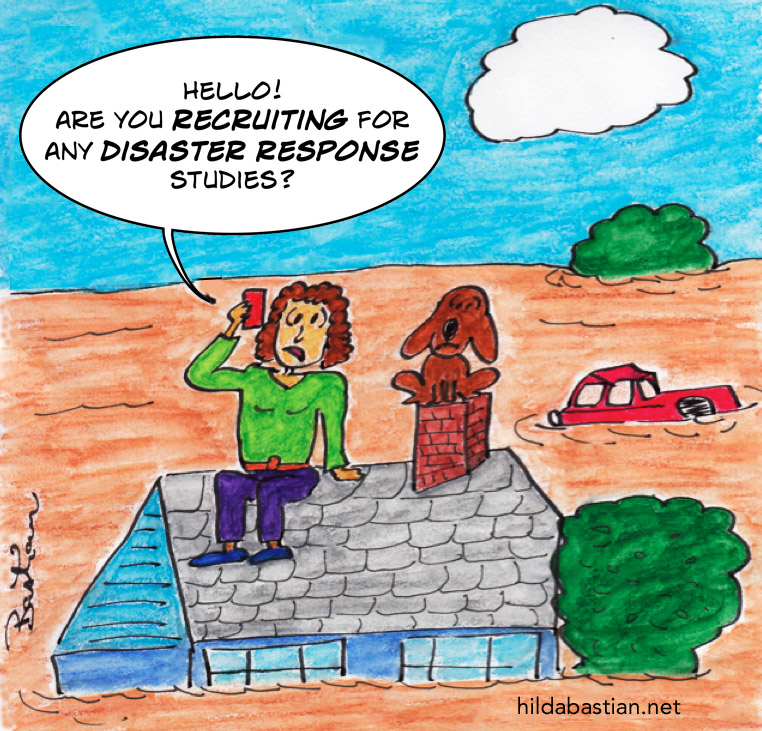 Cartoon of a victim of disaster calling to participate in a study of disaster response