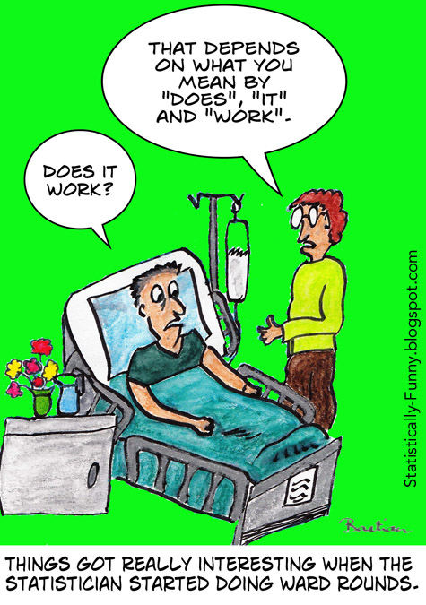 Cartoon of a statistician doing ward rounds