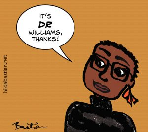 Cartoon of woman saying it's Dr Williams thanks