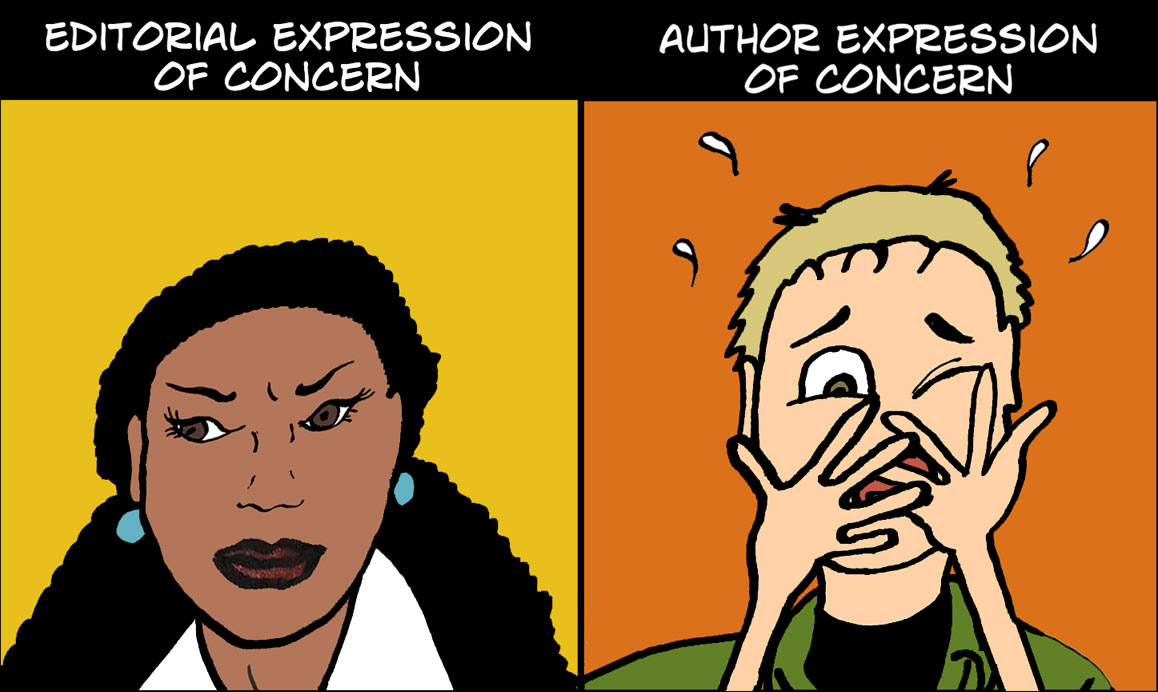 Cartoon of editor and author expressions of concern