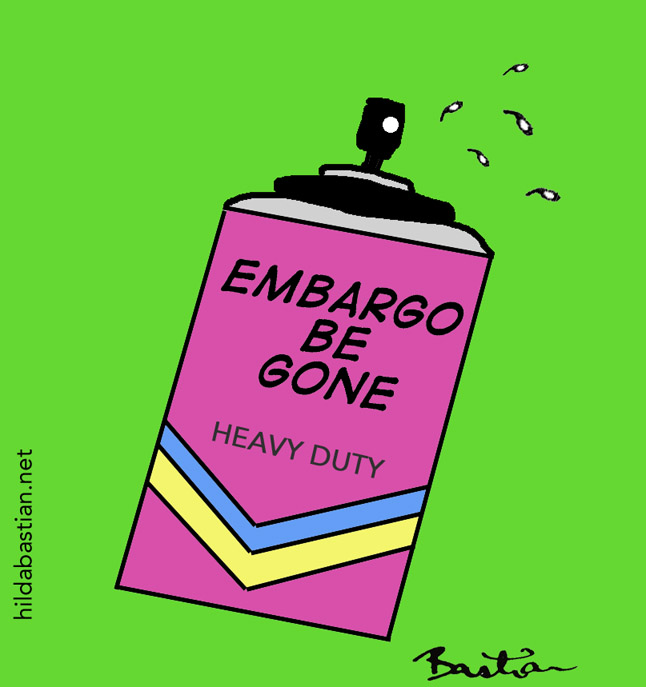 "Cartoon of can of ""Embargo Be Gone"" spray"