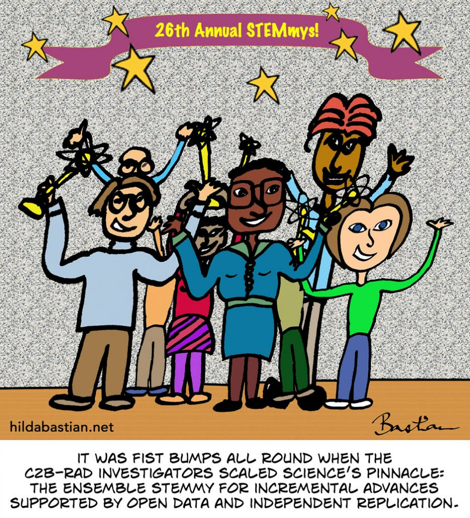 Cartoon of scientists winning the ensemble Stemmy