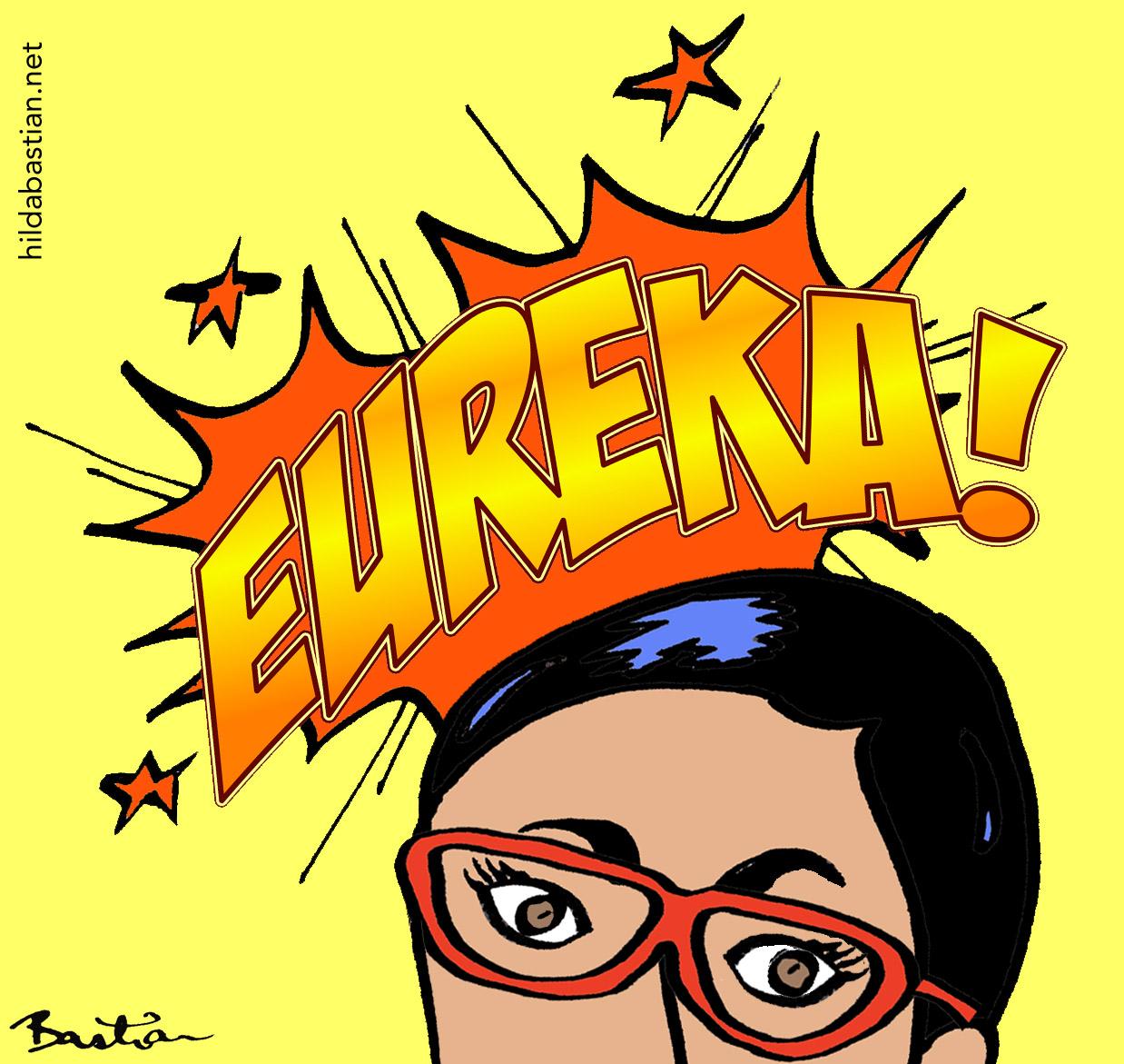 Cartoon scientist thinking Eureka!