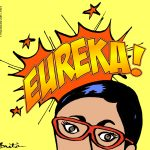 Cartoon scientist thinking Eureka!
