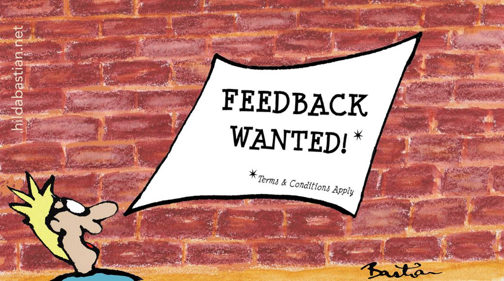 Feedback wanted cartoon - terms & conditions apply