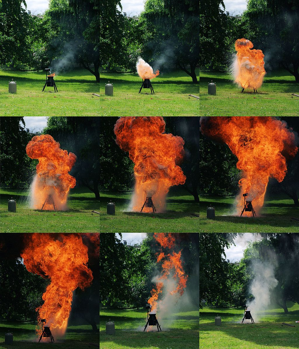 Photos of cooking oil explosion demonstration