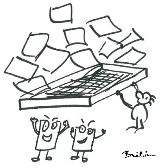 Cartoon of filtering papers