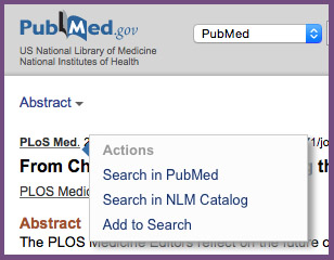 Example of clicking on journal name in PubMed