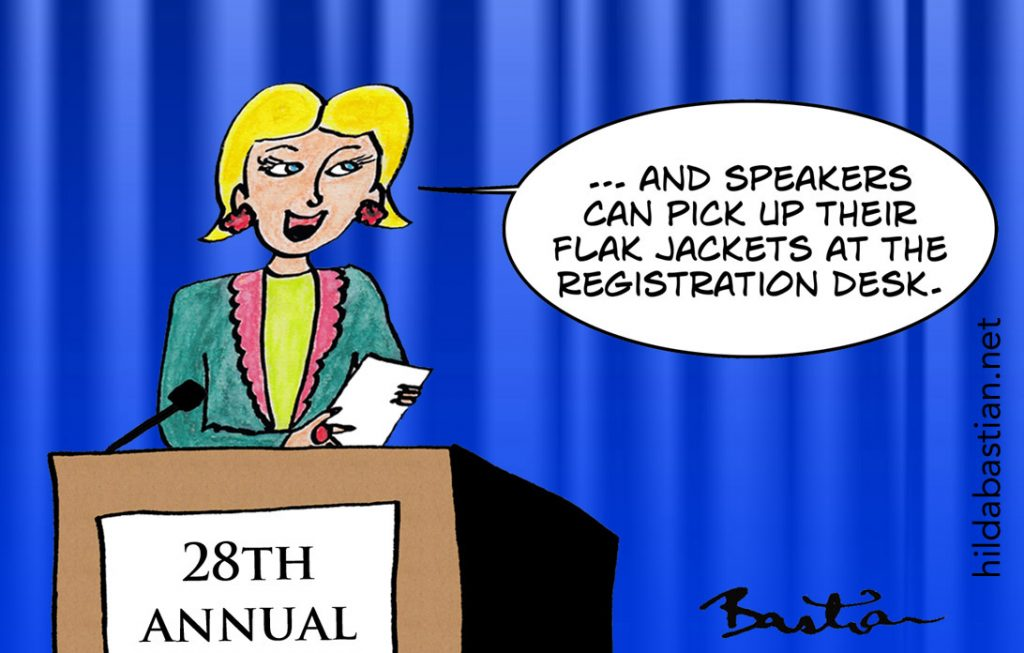 Cartoon about speakers collecting flak jackets from conference registration desk