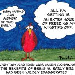 Cartoon of an early bird getting no worms