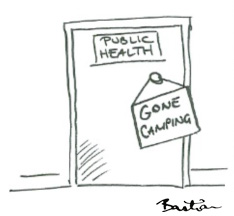 """Cartoon of university department with """"gone camping"""" sign"""