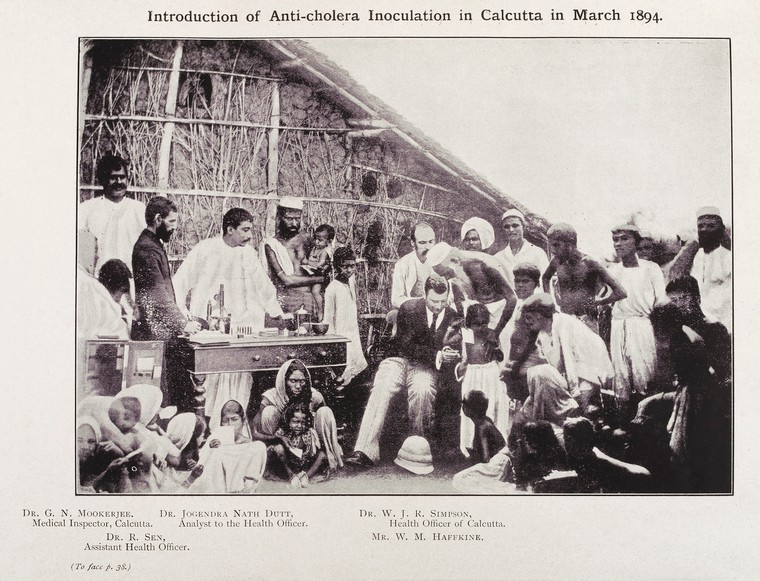 Waldemar Haffkine vaccinating people in Calcutta in 1894 (with named and unnamed people)