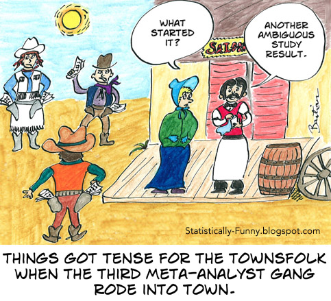 Cartoon of dueling meta-analysts