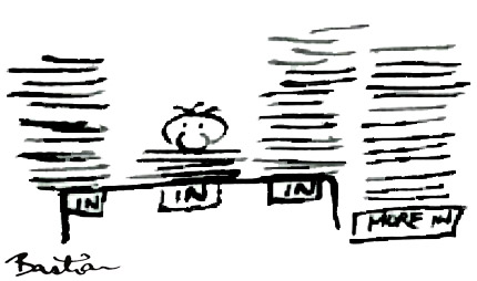 Cartoon of document pile-up
