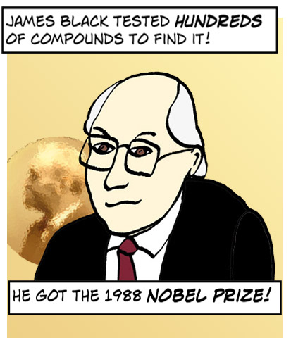James Black tested hundreds of compounds to find it, and got the Nobel prize