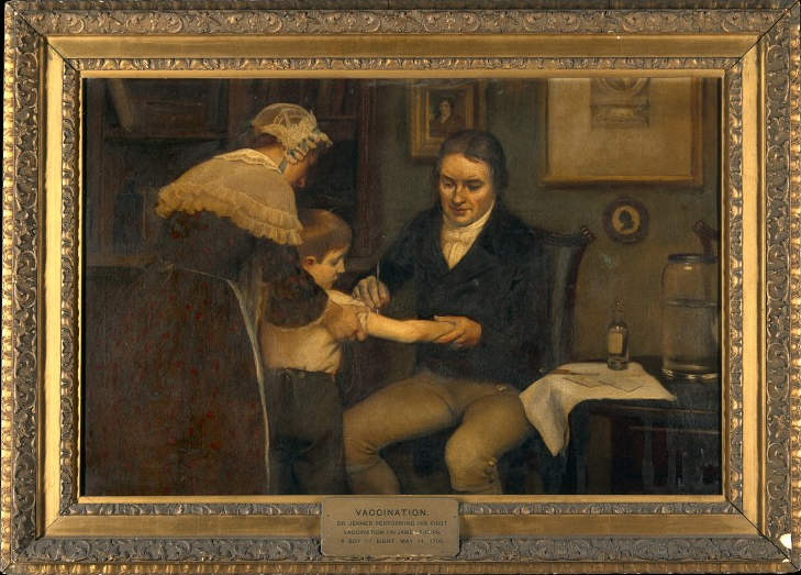 Earnest Board's painting of Edward Jenner vaccinating James Phipps