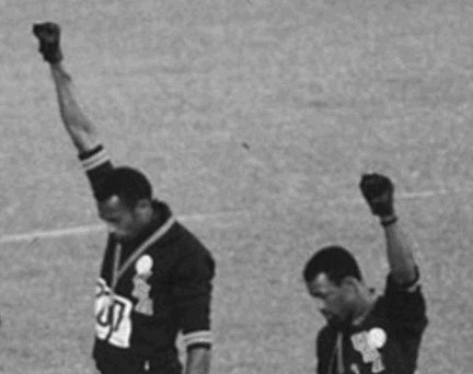 Photo of John Carlos and Tommie Smith black power salute at 1968 Olympics