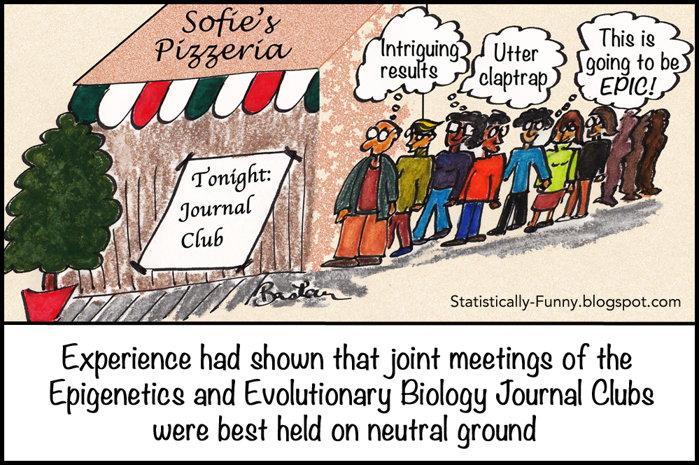 Cartoon of people lining up to get into a journal club