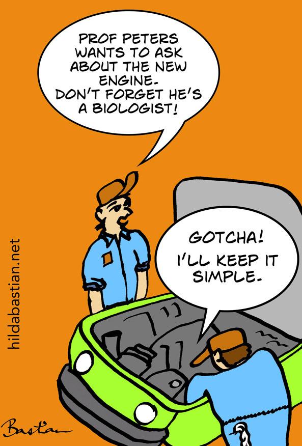 Cartoon of car mechanics keeping explanations simple
