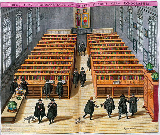 Woodcut of Leiden University library