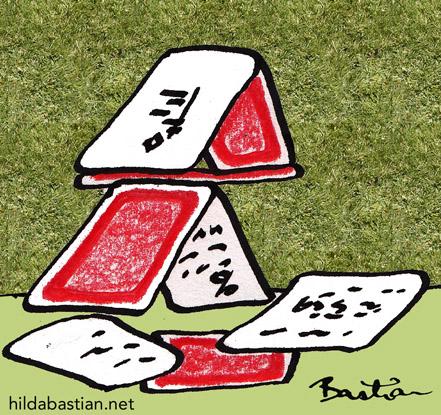 Cartoon of meta-analysis house of cards