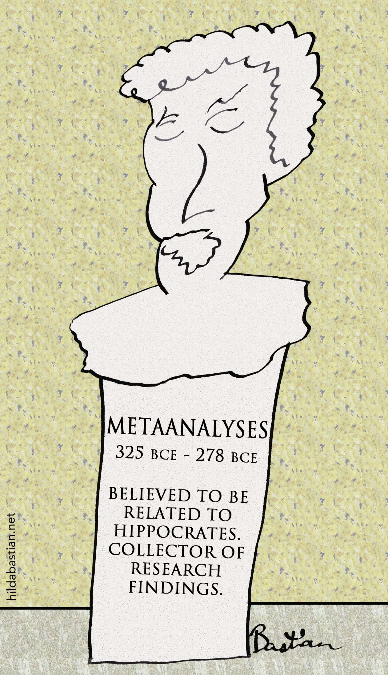 Cartoon ancient statue of Greek statistician