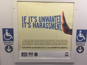 Photo of anti-harassment sign on the Washington DC Metro