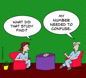 Cartoon finding the number needed to confuse