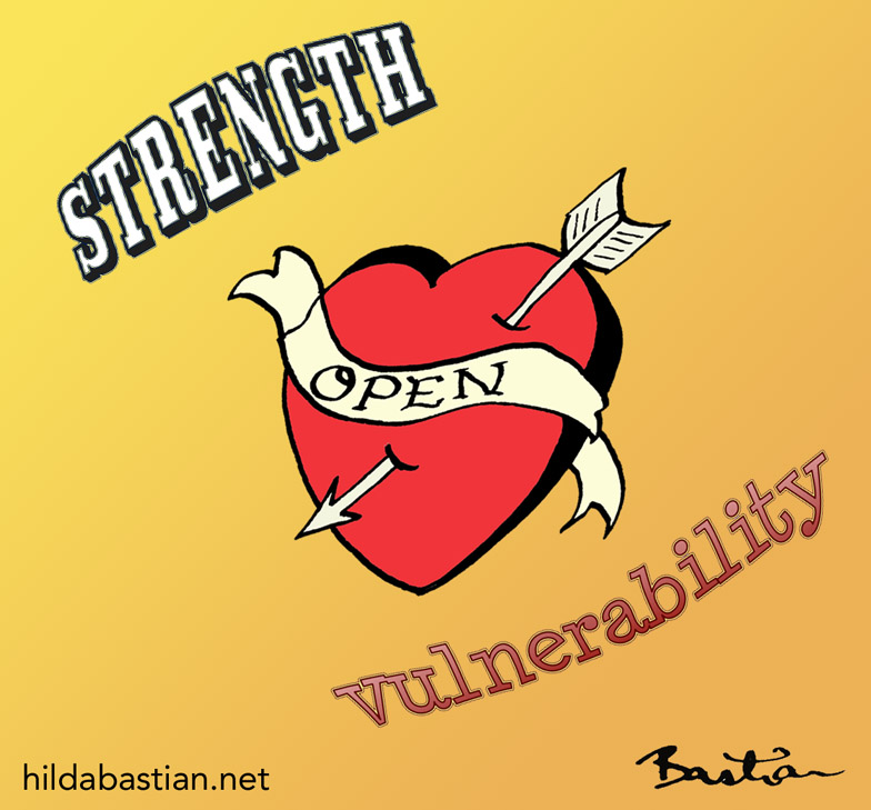 Cartoon image of a tattoo heart with open on it, tagged strength & vulnerability