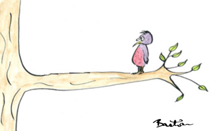 Cartoon of a bird out on a limb