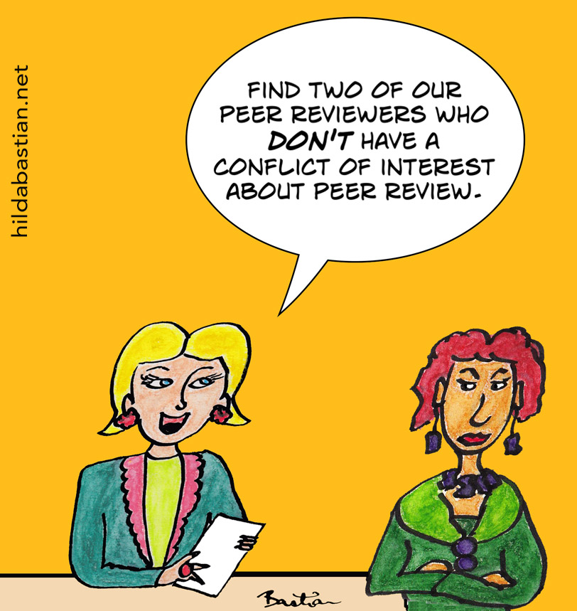Cartoon of editor who wants peer reviewers without conflicts of interest about peer review