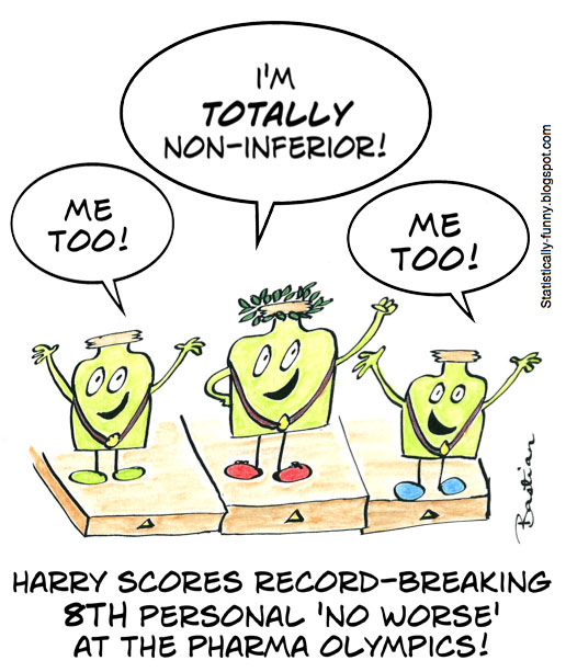 Cartoon of a record personal least worst at the pharmaceutical Olympics
