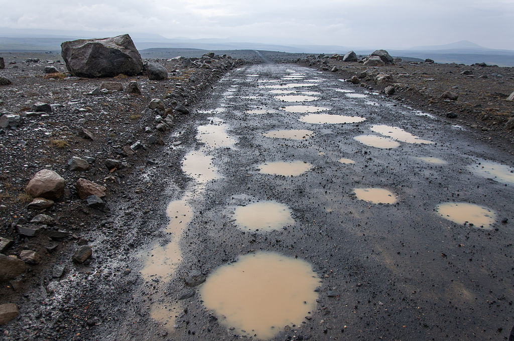 Photo of road in Iceland full of potholes