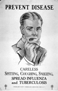 A poster against careless spitting, coughing and sneezing